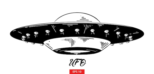 Hand drawn sketch of ufo in black