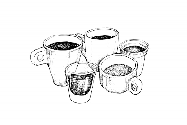 Hand drawn sketch of various hot coffee
