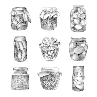 Hand-drawn sketch of various jams in a glass jar with iron and fabric covers. the set consists of apple, raspberry, apricot, strawberry, berry jams