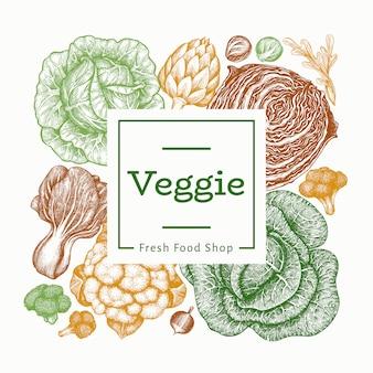 手描きスケッチ野菜デザイン。有機生鮮食品バナーテンプレート。レトロな野菜の背景。刻まれたスタイルの植物のイラスト。