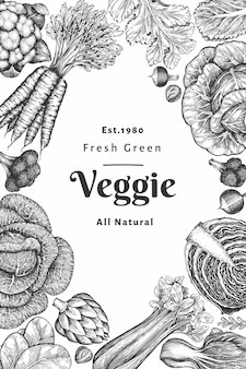 Hand drawn sketch vegetables design. organic fresh food banner template.