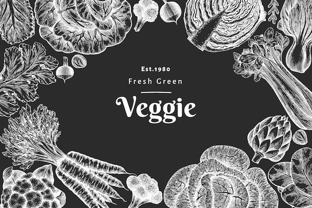 手描きスケッチ野菜のデザイン。有機生鮮食品バナーテンプレート。