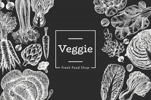 Hand drawn sketch vegetables design. organic fresh food. retro vegetable. engraved style botanical illustrations on chalk board.