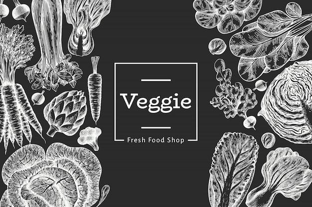 手描きスケッチ野菜デザイン。有機生鮮食品。レトロな野菜。チョークボードに刻まれたスタイルの植物のイラスト。