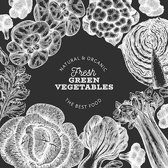 손으로 그린 스케치 야채 디자인. 유기농 신선한 음식 템플릿입니다. 레트로 야채 배경입니다. 분필 보드에 새겨진 스타일 식물 삽화.