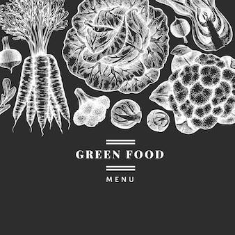 손으로 그린 스케치 야채 디자인. 유기농 신선한 식품 벡터 배너 템플릿입니다. 레트로 야채 배경입니다. 초크 보드에 새겨진 스타일의 식물 삽화.