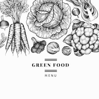 手描きスケッチ野菜デザイン。有機生鮮食品ベクターバナーテンプレート。ヴィンテージ野菜の背景。刻まれたスタイルの植物のイラスト。