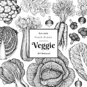 손으로 그린 스케치 야채 디자인. 유기농 신선한 식품 벡터 배너 템플릿입니다. 빈티지 야채 배경입니다. 새겨진 스타일의 식물 삽화.
