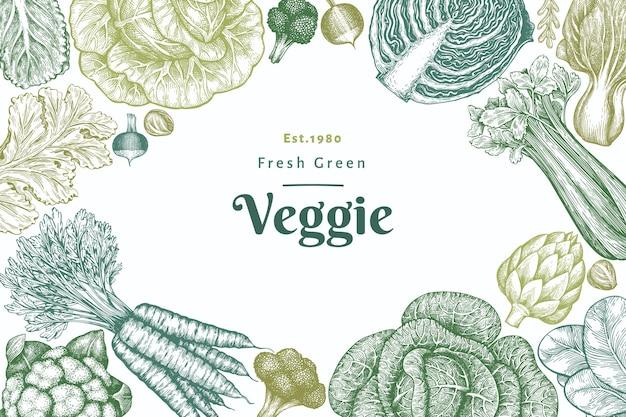 Ручной обращается эскиз дизайн овощей. ретро овощной фон. гравировка в стиле ботанических иллюстраций.