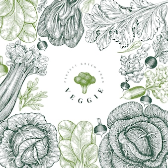 Hand drawn sketch vegetables design.