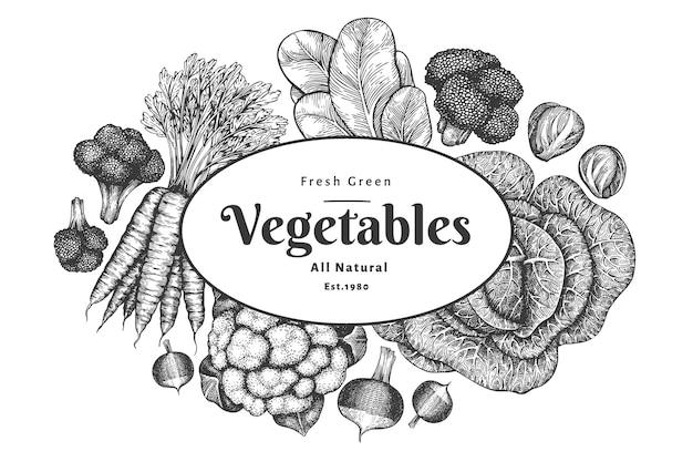 手描きスケッチ野菜デザイン