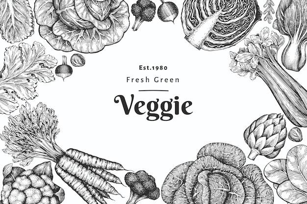 Ручной обращается эскиз овощной дизайн.
