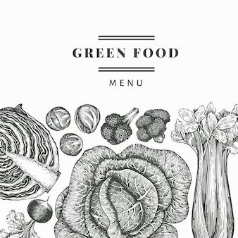 손으로 그린 스케치 야채. 유기 신선한 음식 배경입니다.