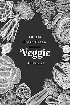 Hand drawn sketch vegetables . organic fresh food  banner template. retro vegetable background. engraved style botanical illustrations on chalk board.