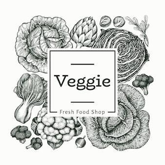 손으로 그린 스케치 야채입니다. 유기농 신선한 음식 배너 템플릿입니다. 레트로 야채 배경입니다. 새겨진 스타일 식물 삽화.