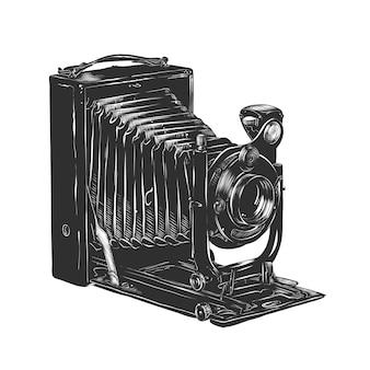 Hand drawn sketch of vintage camera in monochrome
