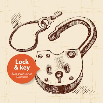 Hand drawn sketch vintage lock and key banner. vector illustration