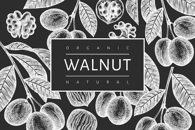 手描きスケッチクルミテンプレート。チョークボード上の有機食品のイラスト。ヴィンテージナッツのイラスト。刻まれたスタイルの植物の背景。