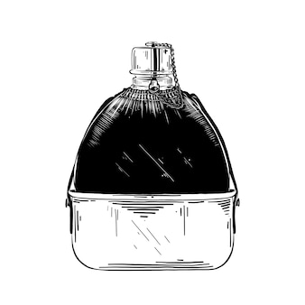 Hand drawn sketch of water hip flask in black