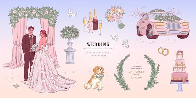 Hand drawn sketch wedding set illustration