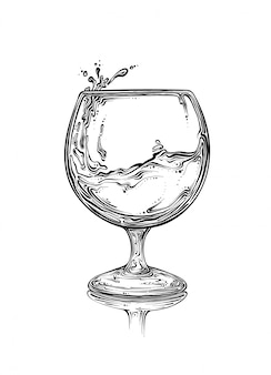 Hand drawn sketch wineglass with spray of liquid in black color. isolated