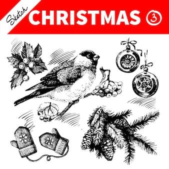 Набор рисованной эскиз зима рождество. векторная иллюстрация