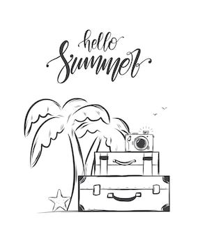 Hand drawn sketch with handwritten lettering of hello summer