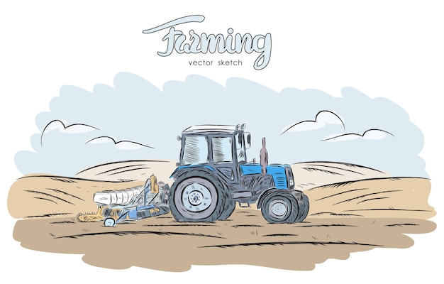 Hand drawn sketch with tractor on field.