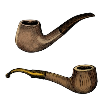 Hand drawn sketch of a wooden pipe