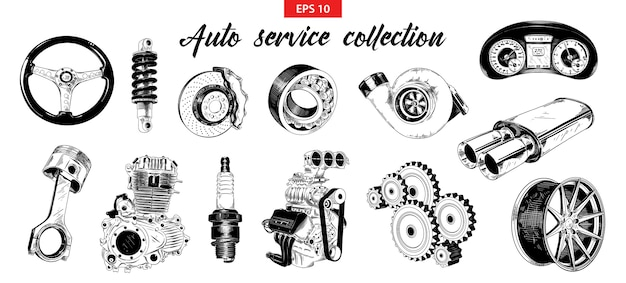 Hand drawn sketches of auto car service elements