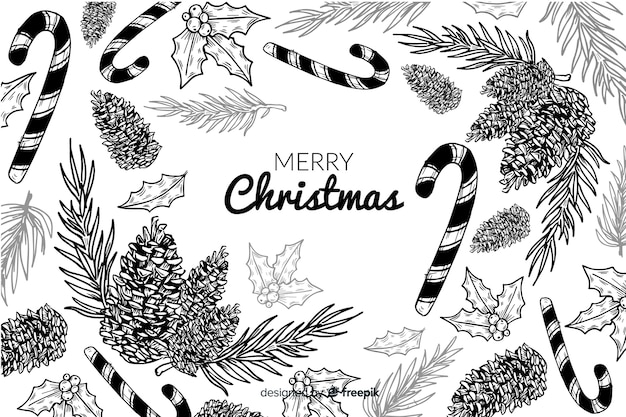 Hand drawn sketches christmas background