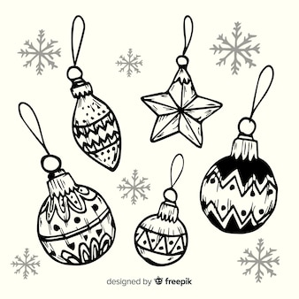 Hand drawn sketches christmas balls