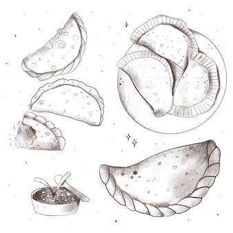 Schizzi disegnati a mano del set di empanada
