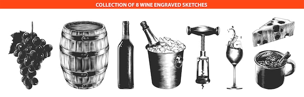 Hand drawn sketches of wine equipment