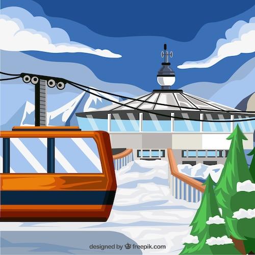 Hand drawn ski station