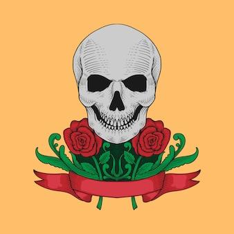 손으로 그린 해골과 장미