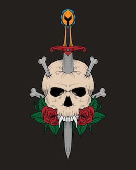 Ручной обращается череп и меч
