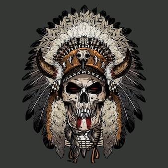 Hand drawn skull apache