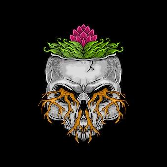 Hand drawn skull artwork illustration
