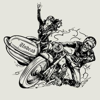 Рисованный череп байкер езда старинный мотоцикл