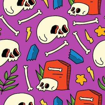 손으로 그린 해골 낙서 만화 패턴 디자인