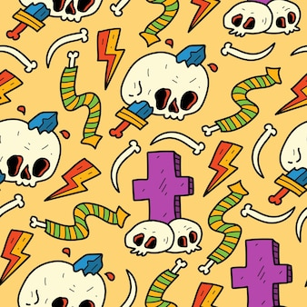 Hand drawn skull doodle cartoon pattern design