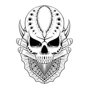 手描きの頭蓋骨の彫刻スタイルの線画