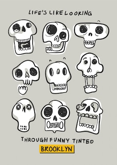 Hand drawn skull head vector for t shirt printing
