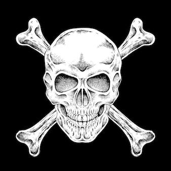 黒の背景の上に絶妙なスタイルで手描きの頭蓋骨