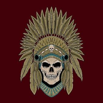 Нарисованная рукой иллюстрация головы индейца американца черепа
