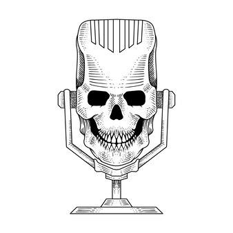 Рисованной череп микрофон подкаст иллюстрация гравировка стиль