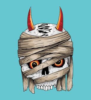 Hand drawn skull mummy isolated illustration
