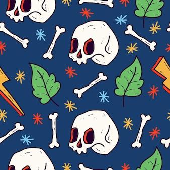 손으로 그린 해골 문신 만화 낙서 패턴 디자인