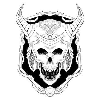Hand drawn skull viking in frame line art engraving style